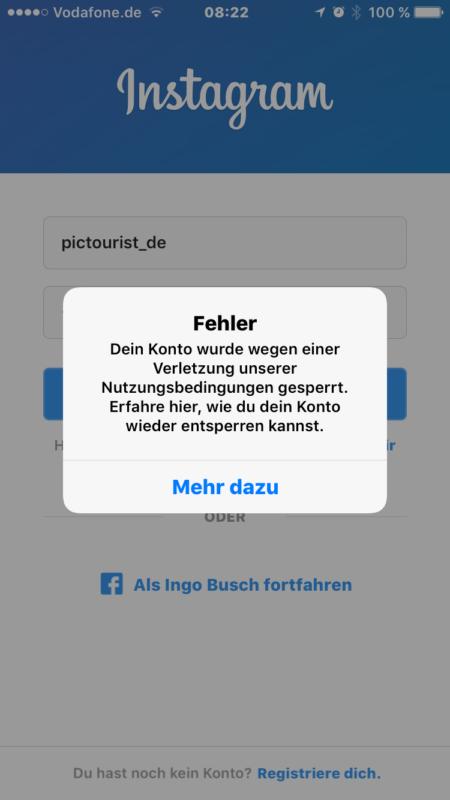 Fehlermeldung beim Login in der Instagram-App